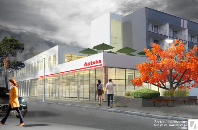 Budynek Handlowy w Pionkach - Projekt koncepcyjny - solidnyarchitekt.pl