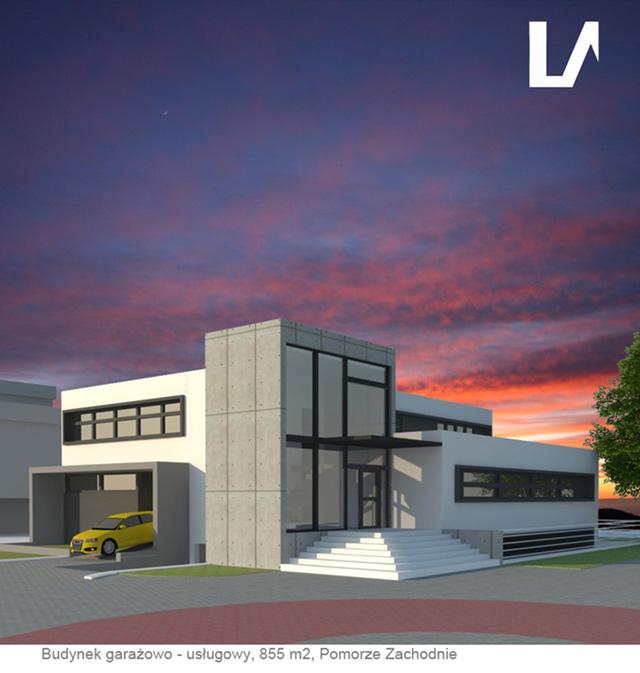 Projekt budynku garażowego z usługami Lenartowicz Architekt