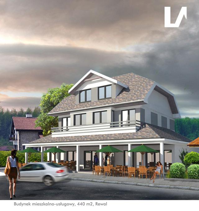 projekt budynku usługowo-mieszkalnego