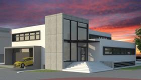 Projekt budynku garażowego z usługami